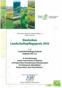 Für besondere Leistungen im Grundwasserschutz erhielt der Zweckverband den Deutschen Landschaftspreis
